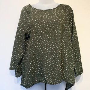 PaperMoon | NWT Olive Green Floral Zip Back Blouse